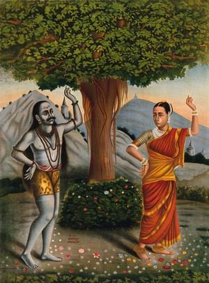 view Shivaite yogi accosts a woman under a banyan tree. Chromolithograph.