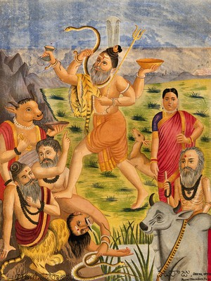 view Shiva trampling on animal sages accompanied by deer, during Daksha's sacrifice, Parvati stands to one side. Chromolithograph.