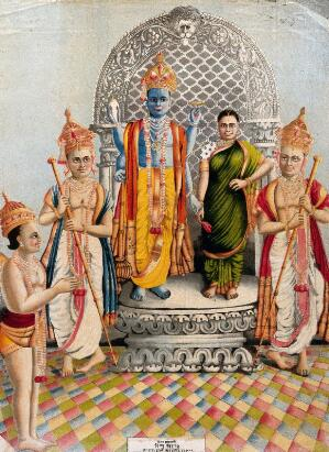 view Vishnu and Lakshmi attended by Garuda and two attendants. Chromolithograph, 1883.