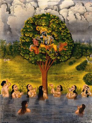 view Krishna seated in a tree above a river with the gopis' clothes and making the gopis plead for their garments. Chromolithograph.