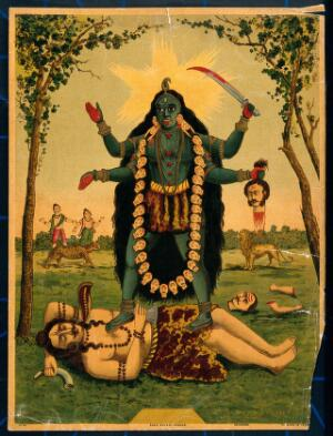 view Kālī standing triumphantly over Shiva. Chromolithograph.