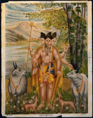 view Dattatreya accompanied by his four dogs among cows. Chromolithograph.