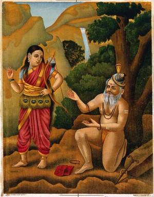 view A huntress coming across Shiva as a yogi. Chromolithograph.