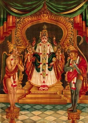 view Vishnu portrayed as in a Maharastra temple with Hanuman and Garuda before him. Chromolithograph.