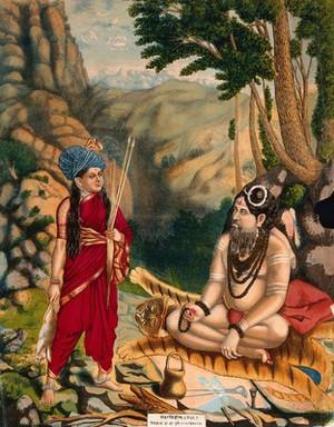 view A huntress approaching a meditating Shiva. Chromolithograph, 1883.