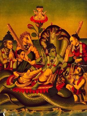 view Vishnu resting on the ocean accompanied by Lakshmi, Tumbara, Hanuman, Narada, Garuda and Brahma sitting on a lotus. Chromolithograph.