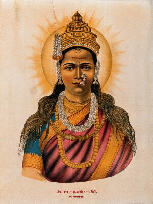 view A heavily jewelled Lakshmi with a halo. Chromolithograph.