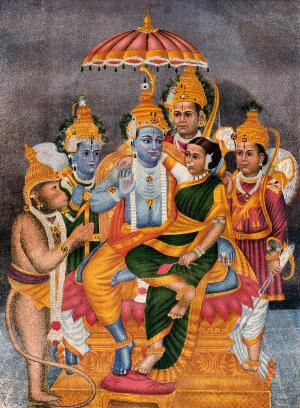 view Rama enthroned with Sita surrounded by Hanuman, Garuda, Krishna and one other. Chromolithgraph.
