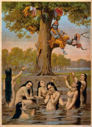 view Krishna sitting in a tree with all the gopis clothes while they naked in the water, beg for their garments. Chromolithograph after Ravi Varma.