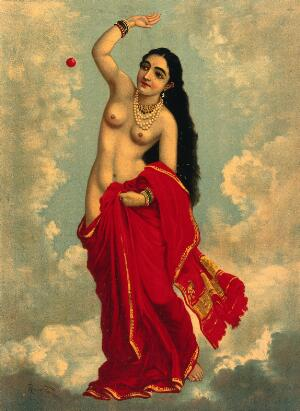 view Half-clothed Tilottama flying in the sky playing with a red ball. Chromolithograph by R. Varma.