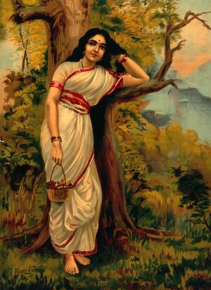 view Ahalya leaning on tree. Chromolithograph by R. Varma.