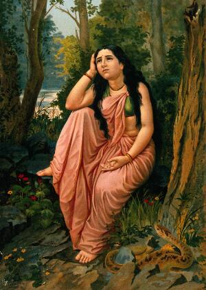 view Damayanti deserted in the forest: part of the story of Damayanti and Nala. Chromolithograph by R. Varma.