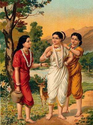 view Shakuntala and her friends. Chromolithograph by R. Varma.