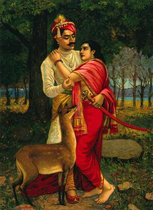 view King Dushyanta proposing marriage with a ring to Shakuntala. Chromolithograph by R. Varma.