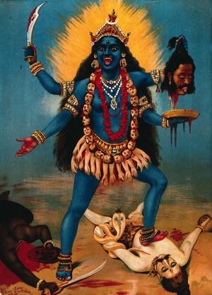 view Kali trampling Shiva. Chromolithograph by R. Varma.