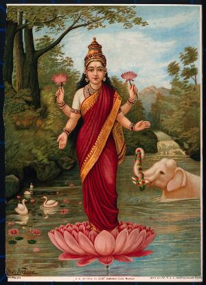 view Lakshmi on her lotus in the water with elephant. Chromolithograph by R. Varma.