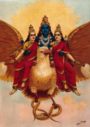 view Vishnu accompanied by his wives riding on Garuda who carries a cobra. Chromolithograph by R. Varma.