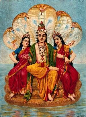 view Vishnu flanked by two wives resting on Shesa, the serpent on the waters. Chromolithograph by R. Varma.
