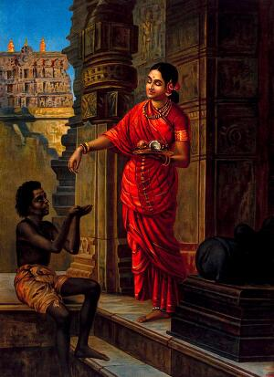 view A woman giving alms to a beggar outside a temple to Lord Shiva. Chromolithograph by R. Varma.