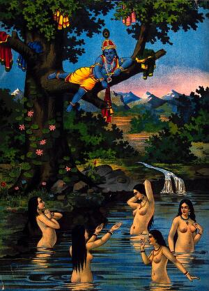 view Krishna stealing the cowgirls clothes and watching them bathe in the river below. Chromolithograph.