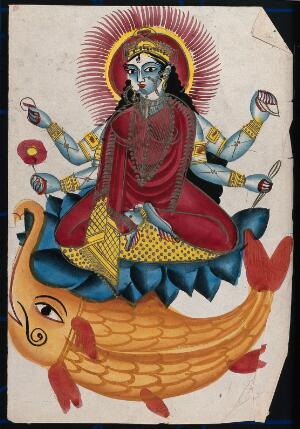 view Saraswati sitting on a lotus with her elephant fish. Coloured lithograph.