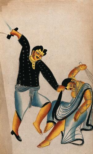view Domestic violence: a husband holding his wife by the hair about to strike her with a shoe, while she tries to defend herself with a broom. Watercolour drawing.