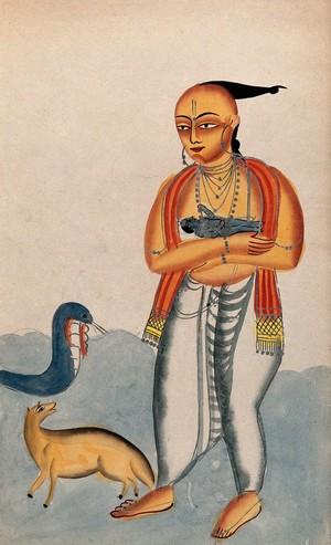 view Vasudeva carrying a baby Krishna encountering a cobra and jackal. Watercolour drawing.