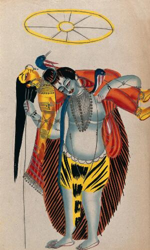 view Shiva carrying his wife in her Sakti form. Watercolour drawing.