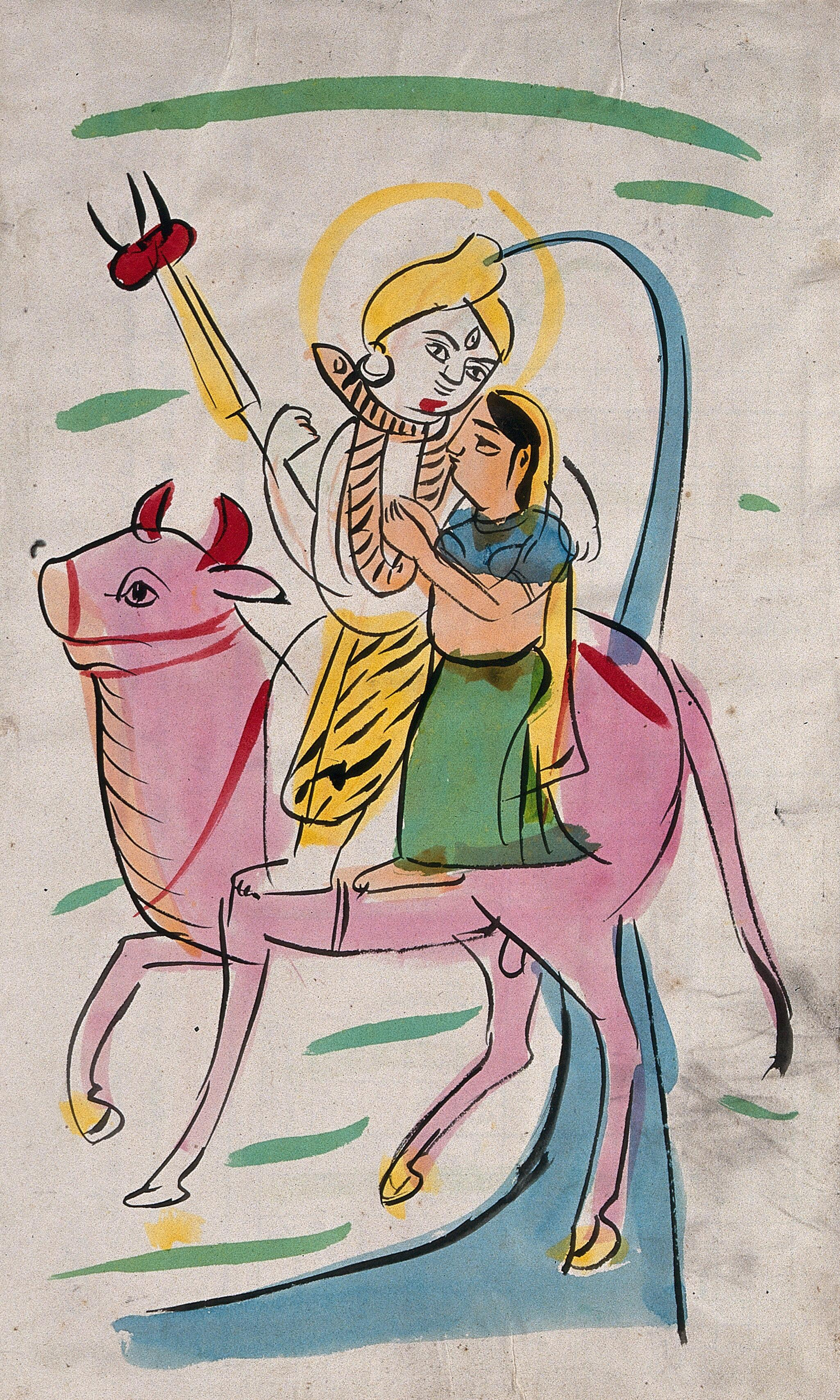 Page 8 Shiva And Parvati Riding On Nandi Bull Watercolour
