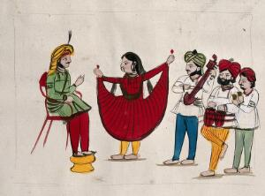 view Page 32: a dancing girl with musicians performing. Watercolour drawing.