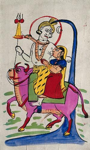 Page 122 Shiva And Parvati On Nandi Bull Watercolour Drawing