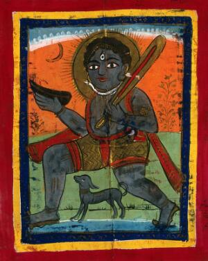 view Page 132: Shiva with his symbols and dog. Gouache drawing.
