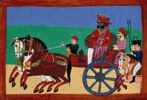 view An indian ruler leading his troops to battle seated in his carriage. Gouache drawing.