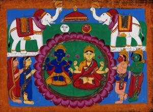 view Vishnu and Lakshmi seated on a lotus being attended by Garuda, Hanuman and female attendants, and hailed by elephants. Gouache drawing.