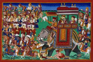 view A procession to war with a band and cavalry. Gouache drawing.