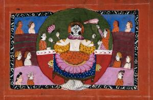view Durga on her lotus with symbols surrounded and attended by devotees. Gouache drawing.