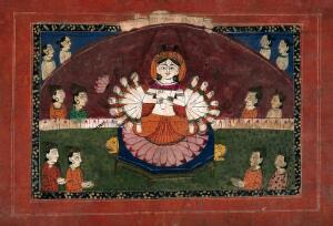 view Durga on a lotus with all her weapons surrounded by devotees. Gouache drawing.