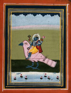 view Vishnu on his transport, Garuda. Gouache drawing.