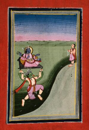 view Rama being carried by Garuda while a devotee worships him. Gouache drawing.