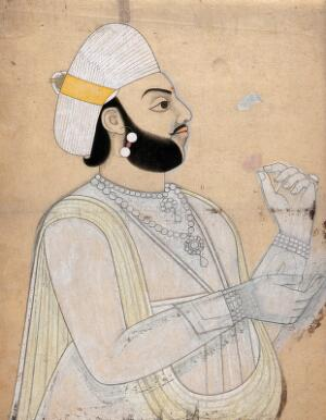 view A raja holding a rose. Coloured ink drawing.