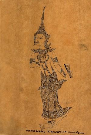 view Phranang Krasat. Pen and ink drawing.