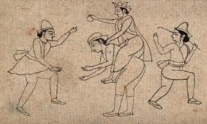 view A group of male figures playing a game. Ink drawing.