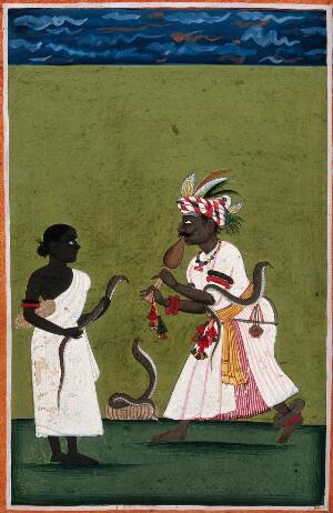 view A snake charmer with three snakes and attendant. Gouache drawing.