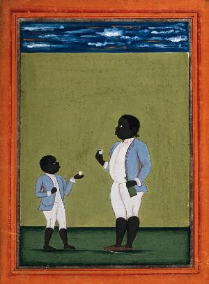 view Two black domestic servants in European dress. Gouache painting by an Indian artist.