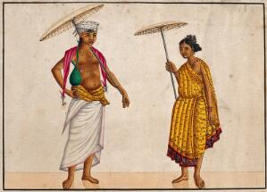 view Brahman merchant couple. Watercolour drawing.