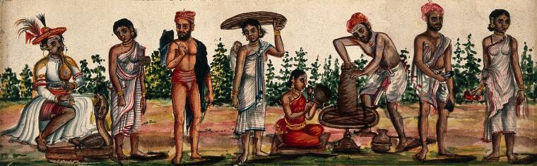 An arrangement of different castes including snake charmer