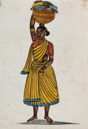 view Bangle woman, Madras, India. Watercolour drawing.