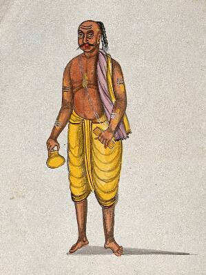 view A Brahman after his ritual puja. Watercolour drawing.