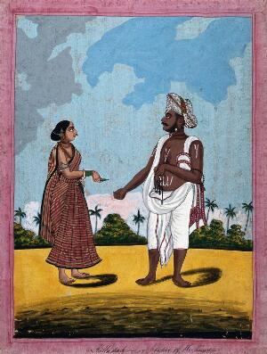 view A key keeper and wife offering him a betel leaf. Gouache drawing.