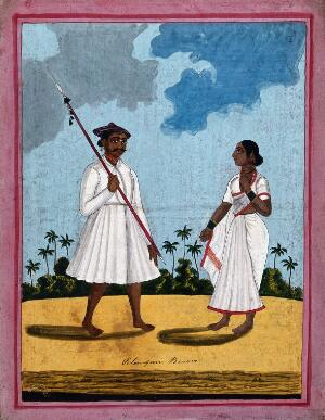 view A palanquin bearer and wife. Gouache drawing.